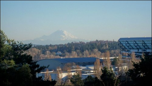 Mt. Rainer, with the University of Washington's Husky Stadium in the right foreground.