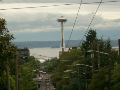 The Space Needle from Capitol Hill, with Elliott Bay in the background.  Photo by Merritt Scott Miller