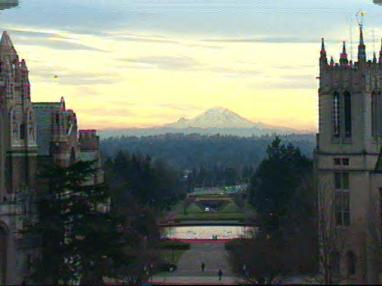 Mount Rainier, from Red Square at the University of Washington. Photo by Merritt Scott Miller