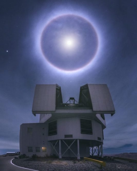 moon halo over observatory