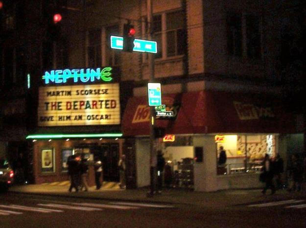 U District Neptune Theatre at night